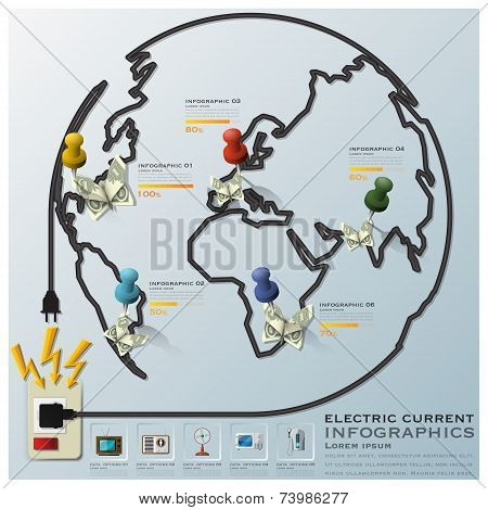 Electric Current And Equipment Earth Wire Line Business Infographic