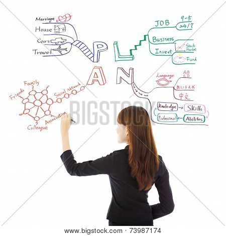 Business Woman Drawing A Future Career Plan