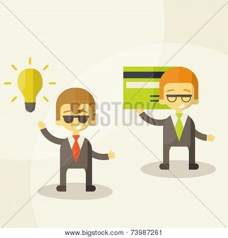 Lamp of idea concept, businessman partners