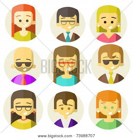 Colorful people Faces Circle Icons Set