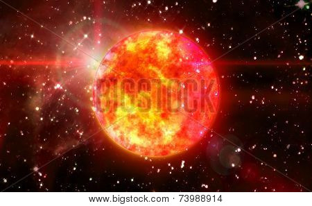 Solar Sun In Red Space