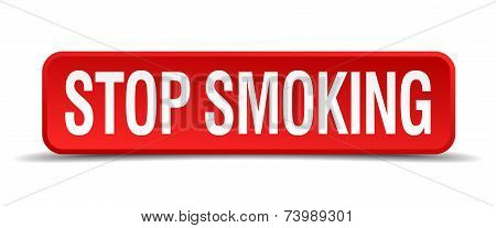 Stop Smoking Red 3D Square Button Isolated On White