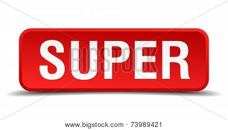 Super Red 3D Square Button Isolated On White