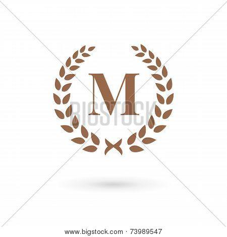 Letter M Laurel Wreath Logo Icon