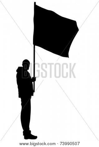 People of with large flags on white background