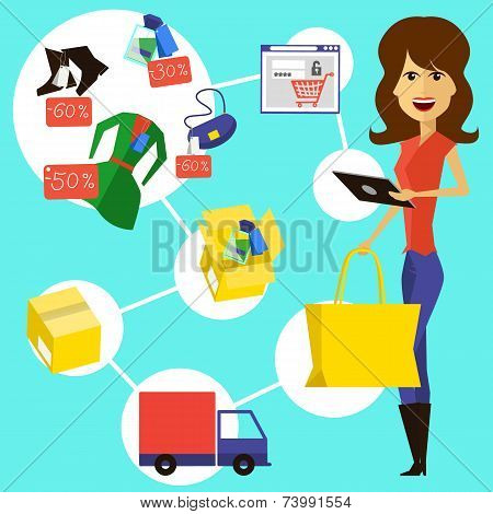 Happy woman with a bag and phone in hands