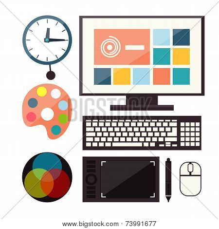 Set of colorful graphic, web design icons