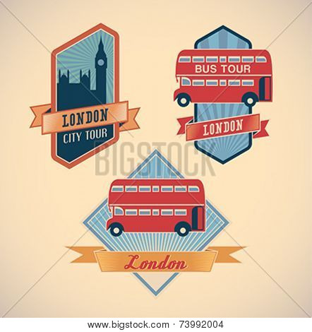 Set of retro-styled London city tour labels. Editable vector illustration.