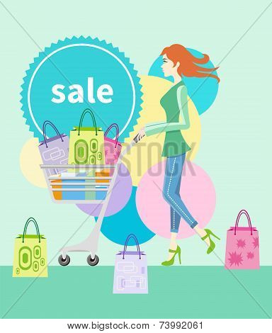 Shopping girl with trolley shopping bag with lable