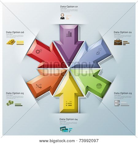 Modern Fusion Arrows Three Dimension Polygon Business Infographic
