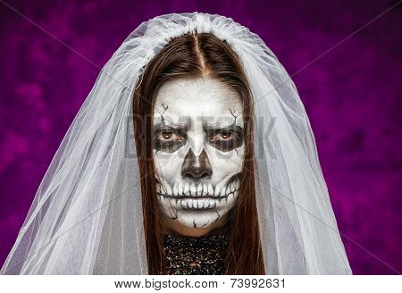 Young Woman A Bride In A Veil On The Day Of The Dead Mask Skull Face Art.