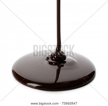 Melted chocolate flow isolated on white