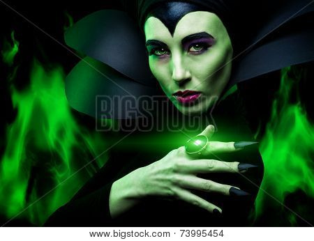 Awesome Woman in costume, long black nails, halloween