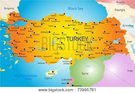 Vector color map of Turkey