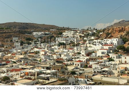 White houses of Lindos, Rhodes.