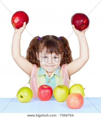 Girl Playing With Apples Sitting At Table