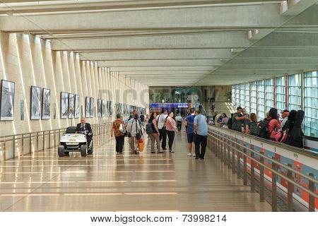 Passengers at Ben Gurion Airport.
