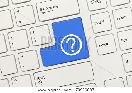 White Conceptual Keyboard - Question Mark (blue Key)