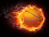 picture of basketball  - Basketball Ball on Fire - JPG