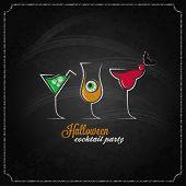 stock photo of cocktail menu  - halloween party cocktails menu design background 10 eps - JPG