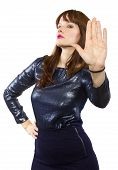 pic of snob  - stylish woman refusing or saying no with hand gesture - JPG