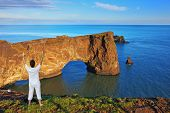 pic of enthusiastic  - Cape Dirkholaey in the south of Iceland - JPG