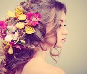 stock photo of solemn  - Beautiful girl - JPG