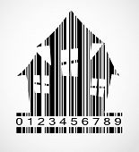 stock photo of barcode  - Barcode Halloween House  Image Vector Illustration - JPG