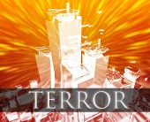 stock photo of extremist  - Terrorist terror attack Al Queda terrorism bombing concept illustration - JPG