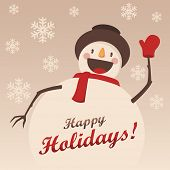 image of snowmen  - Happy Snowman greets you - JPG
