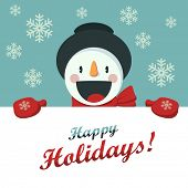 stock photo of christmas greetings  - Happy Snowman greets you - JPG