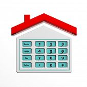 picture of dial pad  - Security numeric pad in house shape symbol isolated - JPG
