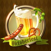 picture of pretzels  - Oktoberfest german festival background with beer mug sausage pretzel and hop vector illustration - JPG