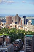 stock photo of prudential center  - Boston Custom House, Financial district and Back Bay, from top of Prudential Center, Massachusetts, USA