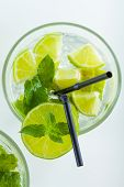 stock photo of mojito  - Mojito cocktail with fresh lime  - JPG