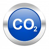 foto of carbon-dioxide  - carbon dioxide blue circle chrome web icon isolated - JPG