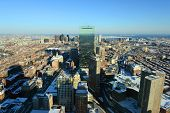 image of prudential center  - Boston John Hancock Tower and Back Bay Skyline in winter - JPG
