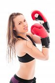 stock photo of cheeky  - Portrait of cheeky young woman wearing like a boxer. Isolated on white