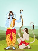 picture of hanuman  - Hindu mythological Lord Rama giving blessings and Hanuman on nature background for Happy Diwali celebrations concept - JPG