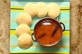 stock photo of onam festival  - Idly with sambar Iddli is a traditional breakfast of South Indian households - JPG