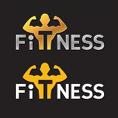 pic of strength  - Fitness Sportsman Silhouette Logo Template - JPG
