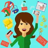 pic of shoe-box  - Happy woman with a card and phone in hands of store - JPG