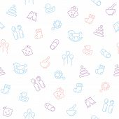 pic of baby duck  - Seamless pattern with cheerful images of babies rattles on a white background with cute ducks horses and inflatable balls - JPG