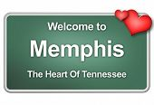 stock photo of memphis tennessee  - Green village sign with friendly Welcome Greetings - JPG