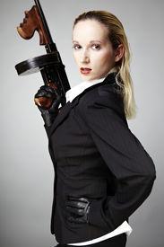 pic of tommy-gun  - Mafia style fashion studio portrait  - JPG