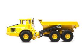 foto of dumper  - toy yellow dumper truck isolated over white background - JPG