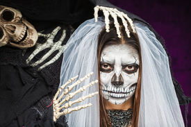 pic of day dead skull  - Young woman a bride in a veil day of the dead mask skull face art and skeleton - JPG