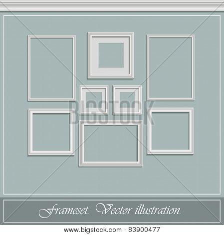 Set of white frames