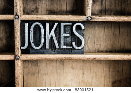 Jokes Concept Metal Letterpress Word In Drawer