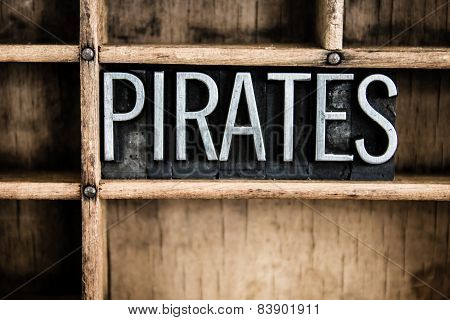 Pirates Concept Metal Letterpress Word In Drawer
